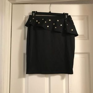 Black peplum skirt